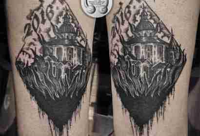 """alt=""""tatuaggi blackwork chiesa san luca by Deborah Ferranti"""""""