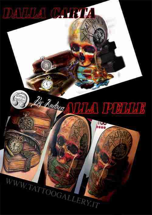 "alt=""tatuaggio realistico teschio"""